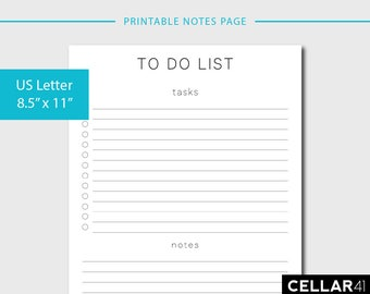 Printable To Do List, Printable Daily Planner, Notes Page, Checklist Printable, Agenda, Printable List, Minimalist, INSTANT DOWNLOAD