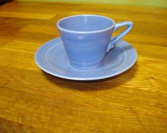 Homer Laughlin Harlequin Mauve Blue Demitasse Cup and Saucer