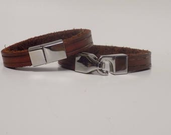 Brown leather bracelet, Men's Leather Bracelet, Women's Leather Bracelet, Leather Bracelet, Leather Jewelry, Leather Bracelet, Silver Clasp