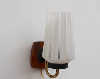 Wood Glass and Brass Sconce Light - Mid Century