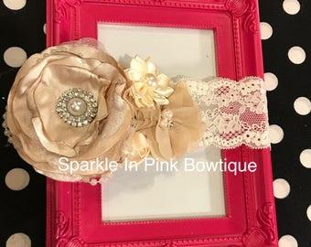 Beautiful Champagne And Beige Lace Headband