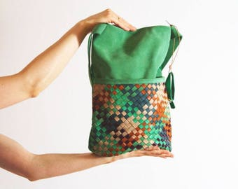 leather bag with braided stripes/green
