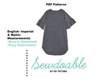 Ruffle Tee Shirt Dress PDF Pattern