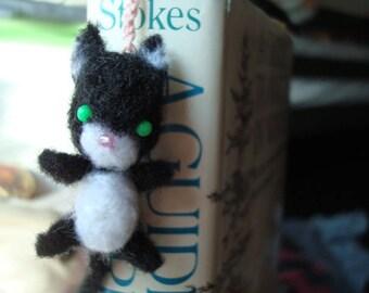 Needle felted miniature black cat plush bookmark