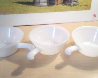 "3 Fireking white milkglass 5"" soup chili bowls with handle"