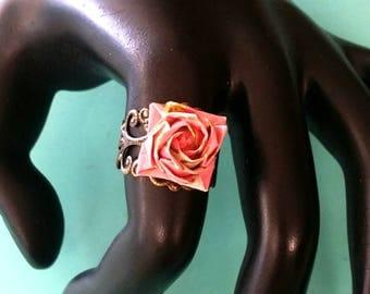 Origami Paper Rose Ring - Japanese Origami -washi paper- Origami Paper Flower- Paper Anniversary-Christmas