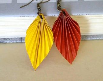 Yellow Brown Origami Leaf Earrings- Origami Jewelry-Origami Earrings-Paper Jewelry-washi Paper -Dange Earrings-Christmas Gift