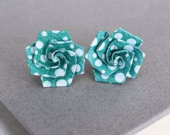 Origami Rose Flower Post Earrings-Studs Posts-Origami Jewellery-Anniversary Gift-Washi Paper