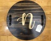 Round Tray, Wooden Tray, Serving Tray, Custom Tray with Handles, Decorative Tray, Breakfast Tray