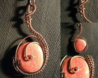 Beaded Pendant in Oxidized Copper Wire Wrap!