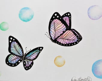 Original Butterflies and Bubbles Watercolor Painting