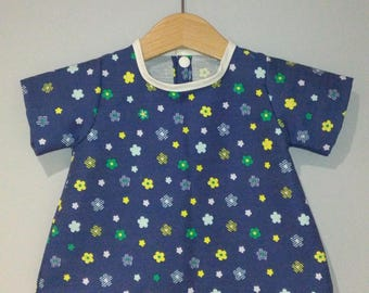 Dress blue cowboy short sleeve with floral print, collar with bias, baby clothes handmade dress for girls