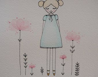 Original, One-of-a-kind Watercolour Art, A4 artwork, Watercolour and Ink Girl with flowers, Nursery Art