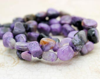 Charoite Pebble Chips Natural Gemstone Beads