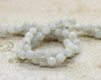Rainbow Moonstone Faceted Round Gemstone Beads (4mm)