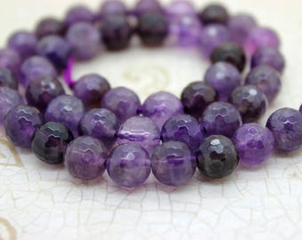 Amethyst Faceted Round Natural Gemstone Beads (6mm 8mm 10mm)