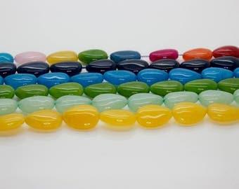 Dye Jade Smooth Pear Shape Gemstone Beads (Yellow, Green, Blue, Navy - Full strand)