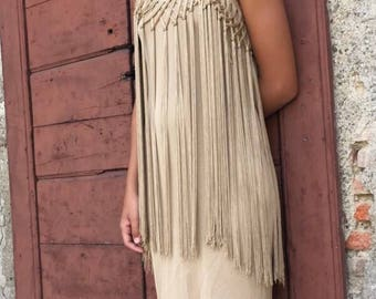 Vintage silk jersey dress with gold fringe