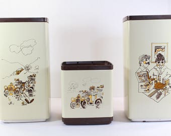 Vintage Kitchen Canister Set, Canister set, Vintage 3 piece Canister Set, 1970s Canister, 1970s kitchen decor, gifts for her, gifts for him