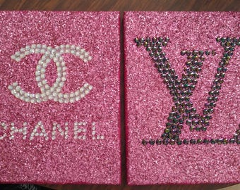 Inspired Pink Chanel CC & Louis Vuitton Hand Laid Rhinestone Canvas Art Handmade!