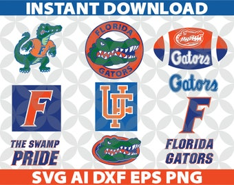 Florida Gators SVG, Eps Ai Dxf Png Monogran Silhouete Cricut Clipart Decal FL Gators