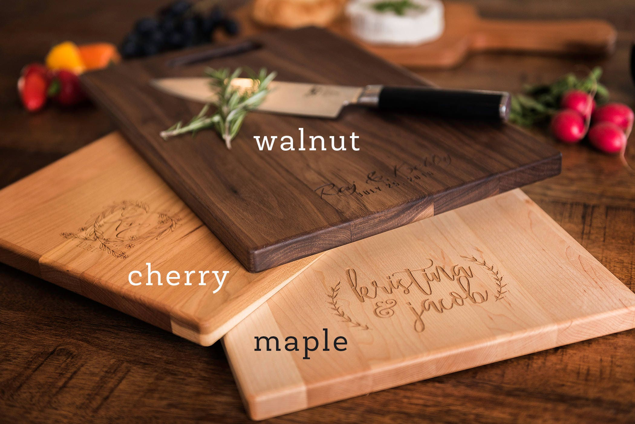 Monogrammed Wedding Gifts Couple: Personalized Engraved Charcuterie Board, Monogrammed