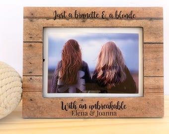 Friendship GIFT Personalized Frame Blonde Brunette Frame Gift Long Distance Friend Frame