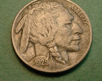 Buffalo Nickel 1929 Very Fine<> FREE SH to United States<> # ET3539