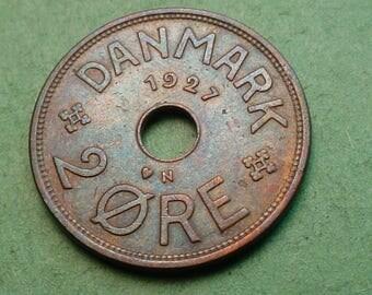 Denmark 2 ore 1927 Nice Details #KM-827.2 Free SH to US<> # ET3721
