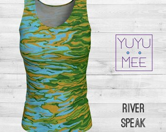 RIVER SPEAK Women's Loose or Fitted  Long Tank Top