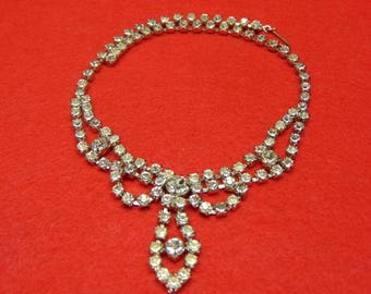 Vintage 50's Rhinestone Necklace Glitzy Old Hollywood Glamour