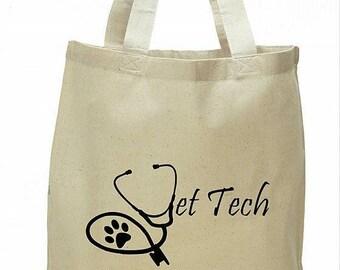 Vet tech veterinary technician nurse tote by vettechstuff.com cotton stethoscope logo