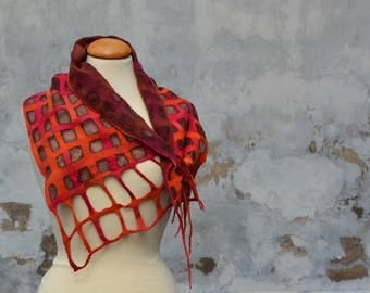 Lattice scarf, scarf, red, orange, pink, felted, wool, Merino, chiffon, silk, diamonds, Nuno, unique