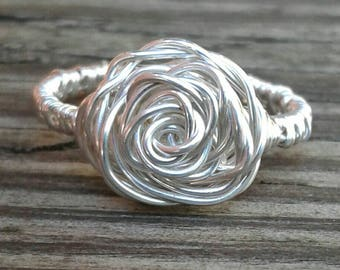 Wire Wrapped Ring, Rose Ring with Solid Sterling Silver Wire, Wire Wrapped Jewelry