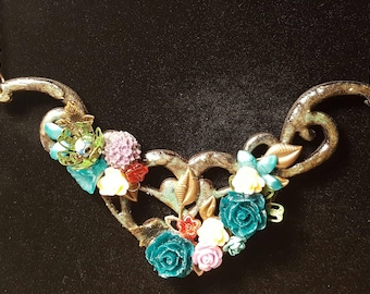 Rustic heart mixed media ooak necklace