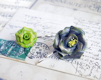 green flower, hair pin, flower hair pin, flower hair piece, rose hair pin, polymer clay flowers, flower hair accessories