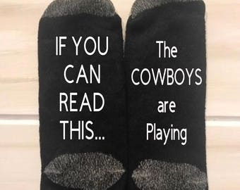 Dallas Cowboys Fan Funny Socks NFL theme gift you can read this falcons are playing Gag Gift Stocking Stuffer football fan
