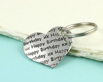 Happy Birthday Heart Keyring Gift in Pewter makes a great gift for a special Birthday.
