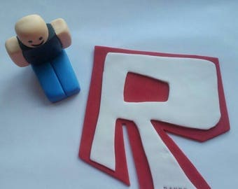 Roblox fondant cake topper