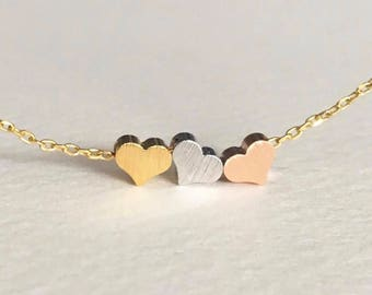Tiny three heart necklace