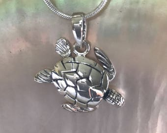 SOLID STERLING SILVER Turtle Pendant for those who love nature, are  protectors of endangered species.
