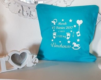 Personalised birth announcement pillow