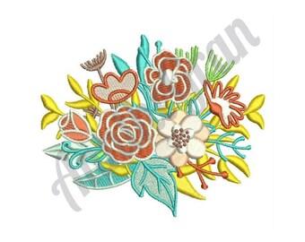Wedding Flowers - Machine Embroidery Design, Floral Bouquet Design