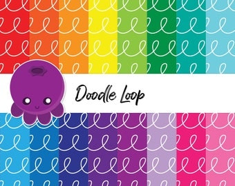 Doodle Loop, Scrapbook Paper, Digital Paper, Whimsical Drawing, Rainbow Doodles, DIY Graphics, Instant Download, Background Image