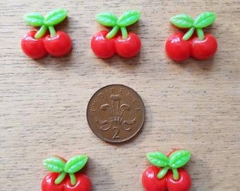 Set of 5 resin flatback cherries