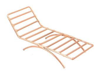 "Copper Lounge Chair, 4.25"" x 1.75"" x 2"" - Miniature Fairy Garden Dollhouse"