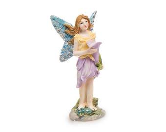"Purple Flower Fairy, 1.5"" x 3.5"" x 1.75"" - Miniature Fairy Garden Dollhouse"