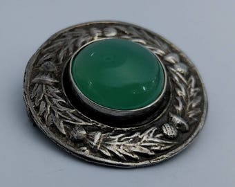 Scottish Silver & Cabochon Aventurine Brooch