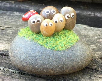 Hand painted pebbles & red toadstool figures / Adorable original gifts / garden/home display