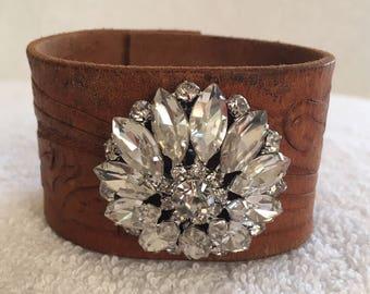 Rhinestone Cowgirl - Leather Cuff Bracelet